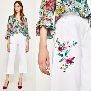 ZARA Culottes White Embroidered Jeans